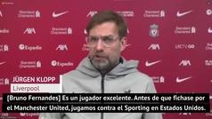"""Klopp: """"Bruno Fernandes ha sido un gran fichaje para el United... desgraciadamente"""""""