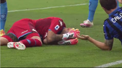Escalofriante choque fortuito, Ospina tuvo que abandonar el partido conmocionado