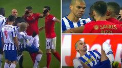 Pepe se mete en todos los charcos: pique Oporto-Benfica... ¡y acaba en el suelo y amonestado!