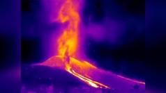 La erupción del volcán, con cámara de infrarrojos