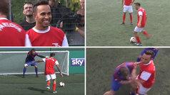 Lewis Hamilton brilla con un hat-trick de asistencias en un partidillo de leyendas de la Premier