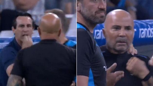 Expulsan a Emery y hace este gesto a Sampaoli: ¡casi llegan a las manos!