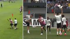 ¡Insaciable Cristiano! Tres en uno: autopase, golazo y arenga al equipo... ¡en un entrenamiento!
