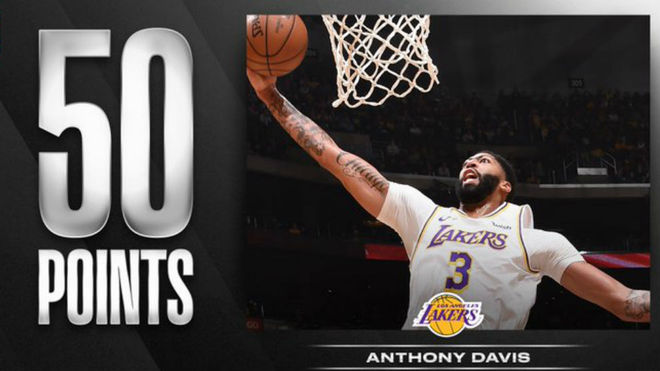 Anthony Davis anota 50 puntos en triunfo de los Lakers