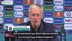 """Deschamps: """"Benzema no tiene dudas y tiene mi confianza"""""""