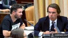 El duro enfrentamiento entre Rufián y Aznar en el Congreso