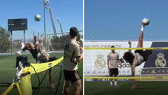 Recital de 'fútbol-tenis' de Marcelo en Valdebebas: ¡a pura chilena acrobatica!