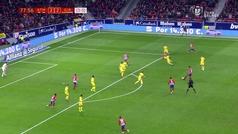 El ajustadísimo fuera de juego anulado al Atlético en el minuto 78