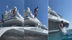 El arriesgado salto de Courtois desde lo más alto de su barco: da vértigo verlo