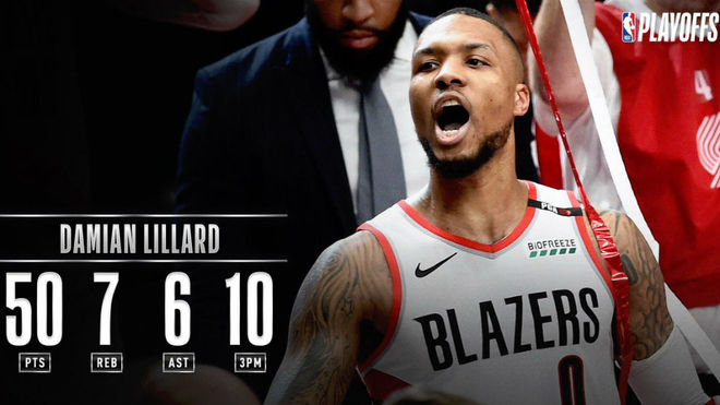 Lillard anota 50, Blazers eliminan al Thunder en 5 juegos