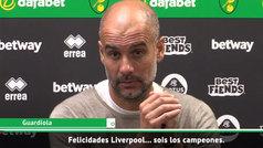 """Guardiola felicita al Liverpool con ironía: """"Sois los campeones... en septiembre"""""""