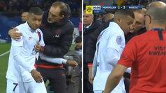 Mosqueo de Mbappé con Tuchel tras se sustituido en el minuto 90: ¡no le mira ni a la cara!
