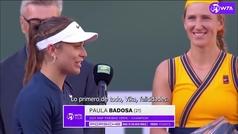 """El detalle de gran campeona de Badosa: """"Sin mujeres como tú, yo no estaría aquí"""""""