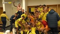 Así fue la foto de familia de celebración en el vestuario del Villarreal