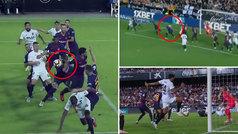 Gol de Garay (1-0) en el Valencia 1-1 Barcelona