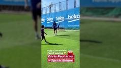 """El divertido pelotazo de Chris Paul Jr. a Piqué: """"Si lo lastimas, no lo voy a pagar"""""""