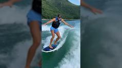 Piqué se graba haciendo wakesurf con lancha: día libre en familia