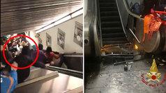El desplome de una escalera mecánica en el metro de Roma provoca una decena de heridos