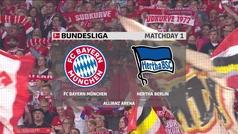 Bundesliga (J1): Resumen y goles del Bayern 2-2 Hertha Berlín