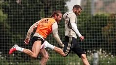 Trabajo físico, de control y pase fue la dinámica del entrenamiento del Madrid de hoy