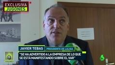 Javier Tebas reconoce que LaLiga ha pedido explicaciones a la empresa encargada del VAR