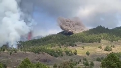 La ceniza sepulta una planta fotovoltaica de La Palma