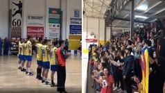 "Cánticos de ""Llibertat presos politics"" en el partido del Sarrià de Ter en la Copa del Rey de balonm"