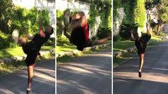MX: De locos: bate el récord mundial de mortales hacia atrás a una pierna... ¡con 30 seguidos!