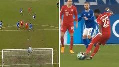 El Bayern toca hacia atrás, Alaba levanta la vista desde 35 metros y... ¡zurdazo a la jaula!