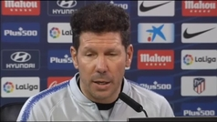 """Simeone: """"Quedan cinco jornadas y tenemos la intención hasta el último suspiro de acercarnos al primero"""""""