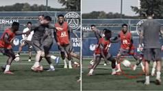 La última genialidad de Messi en el entrenamiento: pase de espaldas y gol.