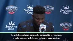 """Zion Williams, tras su debut NBA: """"Es un sueño hecho realidad"""""""