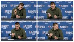 La divertidísima reacción de Nikola Jokic al romper un micrófono en rueda de prensa