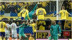 De Gea se marcó varios paradones, incluso en el gol de Suecia, antes de retirarse lesionado