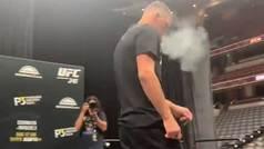 Nate Díaz reaparece en la UFC fumando marihuana y compartiendo su porro con el público