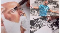 El hiperrealista dibujo a lápiz que se ha ganado el RT de Benzema: ¡qué pasada!