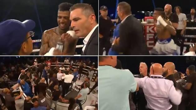 Locura en el combate entre un rapero y un TikToker: se sube un fan al ring... y vuelan los puñetazos