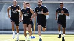 Última sesión de entrenamiento del Real Madrid antes de volar a Glasgow