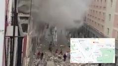 Una fuerte explosión destroza un edificio en el centro de Madrid