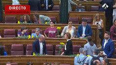 Los diputados independentistas acuden al hemiciclo con flores amarillas
