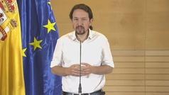 """Pablo Iglesias: """"La reunión con Sánchez para un Gobierno de cooperación ha ido bien"""""""