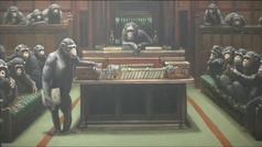Un Bansky con chimpancés dirigiendo el Parlamento británico se vende por 11 millones de euros