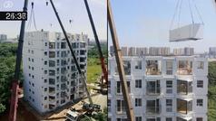 Construyen un edificio de 10 plantas en menos de 29 horas