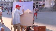 Antonio López pinta cada tarde en la Puerta del Sol de Madrid