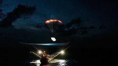 Space X logra recuperar parte del fuselaje de un cohete con un barco no tripulado