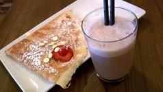 Crêpe dulce de chocolate blanco y fresas