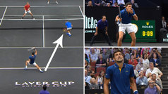 Pelotazo 'amigo' de Djokovic a Federer: ¡ojo a la cara de ambos!
